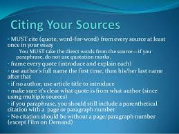 research paper citing your sources must cite quote word for word from every source at