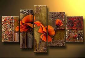 dining room wall art amazon. ode-rin art hand painted oil painting gift red flowers 5 panels wood inside framed hanging wall decoration - (16x24inchx1, 12x32inchx1, 12x36inchx1, dining room amazon e