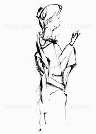 着物姿の墨絵の女性の画像素材40583454 イラスト素材ならイメージナビ
