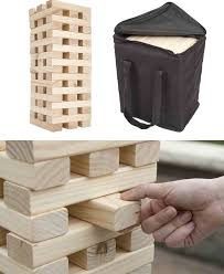 the 54 wooden blocks are hand crafted out of pinewood and can stack over four feet tall it will be a great addition to any outdoor