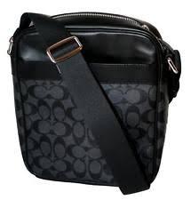 Coach Men s Signature Crossbody PVC Leather File Flight Bag Char Black  F54788