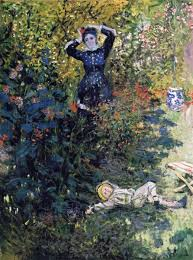 camille and jean monet in the garden at