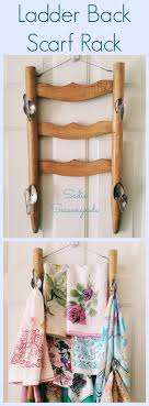 vintage ladder back chair Salvage the back and turn it into a hanging rack  for the back of your closet door- Ladder Back Scarf Rack- Attach some  vintage ...