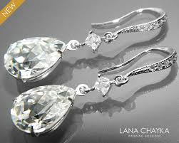 clear crystal cz bridal earrings swarovski rhinestone teardrop earrings bridesmaid jewelry crystal silver dangle earring chandelier earrings