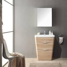 Fresca Milano 26 White Oak Modern Bathroom Vanity w Medicine Cabinet