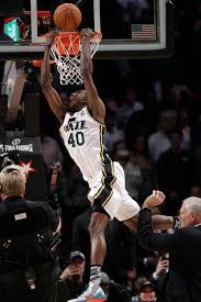 jeremy evans of the utah jazz competes in the slam dunk during nba all