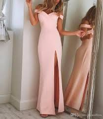 Simple Elegant Off The Shoulder Simple Elegant Prom Dresses 2018 Pink Long Pageant