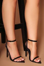 lucia pointed toe strappy heels in black vegan snake leather