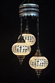 turkish handmade 3 pieces hanging mosaic lamp