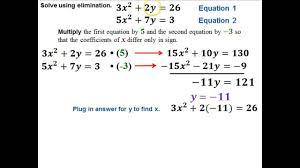 6 1 systems of equations using elimination for quadratics