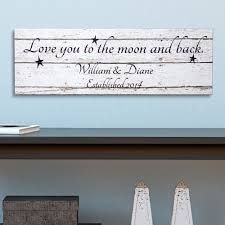 love you to the moon and back wall art 10 personalized canvas 9 x 27