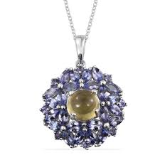 cats eye apatite tanzanite platinum over sterling silver pendant with chain 18 in tgw 7 00 cts pendants jewelry lc