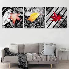 colorful maple leaf wall art leaves canvas prints bedroom 3 piece set decor pictures black gray on leaf wall art set with colorful maple leaf wall art leaves canvas prints bedroom 3 piece