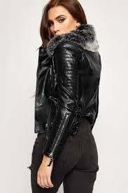 kylie faux leather fur collar padded biker jacket