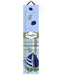 Toad And Lily Canvas Growth Chart Little Sail Boat Nautical Personalized Growth Chart Kids Children Height Chart Ruler Chart Boys Growth Chart Gc0095