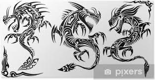 Plakát Iconic Dragons Hranice Rámy Tetování Tribal Vector Sada