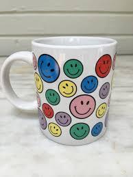 Smiley Face Coffee Mug Vintage Smiley Faces Mug Smiley Face Coffee Mug Rainbow Smiles