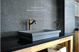 concrete bathroom sink gray basalt stone look dune moon undermount countertop
