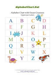 Ocean Theme Uppercase Alphabet Pdf Chart Alphabet Chart Net