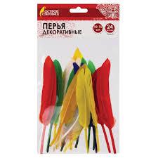 Купить <b>Перья</b> декоративные прямые, 10-15 см, 24 шт., 6 цветов ...
