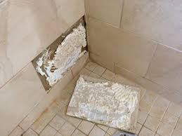 bathroom tile repair. Plain Bathroom After Pulling The Tile Out I Found Out That He Has Just Used Silicone To Throughout Bathroom Tile Repair T