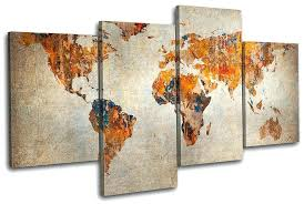world map canvas wall art large
