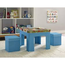 Table Set For Kids Altra Kids Fabric Table And Ottoman Set With Owl Pattern Blue
