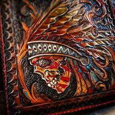guy makes some awesome hand tooled leather wallets and billfolds
