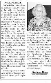 Obituary for PAULINE HALE (Aged 86) - Newspapers.com
