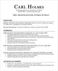 sample intern resumes