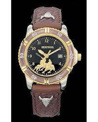 black and brown leather team roping watch