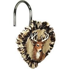 deer antler burr shower curtain hook set