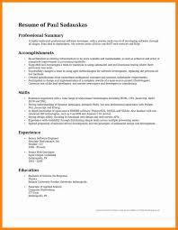Awesome Summary Resume Template Sample Free Career