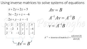 as shown above to find the values of x y and z we have to take the dot between the inverse of matrix a and matrix b next