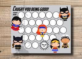 Kids Reward Chart Girl Super Hero Reward Chart Printable Instant Download Printable