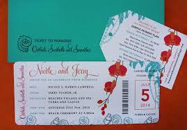 orange and turquoise wedding invitations. pink, orange \u0026 turquoise orchids, seashells palm trees boarding pass wedding invitations and