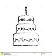 Sketch Draw Birthday Cake Cartoon Stock Vector Illustration Of
