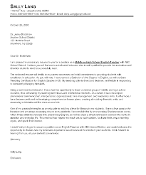 Examples Of Teaching Cover Letters Middle School Teacher Letter