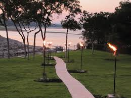 Gas line tiki torches add a nice ambience to our backyard!