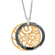 filigree medallion in yellow ip stainless steel with green ceramic frame