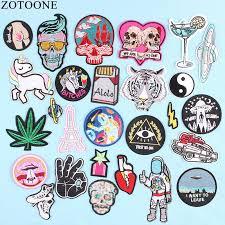 <b>ZOTOONE</b> UFO Space Skull <b>Tiger Patch</b> Iron on Sew On Applique ...