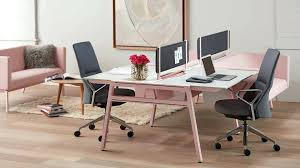 splendid bivi modular desk system in pink finish with 2 desks and rumble seat attachments fabric 67 design desk accessories australia bivi modular desk