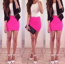 shirt white fl elegant classy interview short lace hot pink skirt leather jacket black blouse
