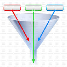 Three Stage Funnel Chart Stock Vector Image