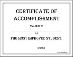 Certificate Of Accomplishment Most Improved Abcteach