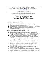 Cover Letter Custodian Resume Samples Resume Samples For School