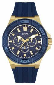 guess mens force blue silicone strap watch w0674g2 guess w0674g2