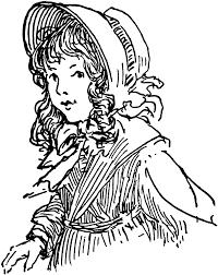 pioneer handcart clipart. pioneer girl bonnet clipart handcart