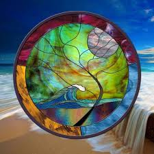 details about wave stained glass window panel round stormy tree blue green gold black hawaii