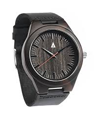 treehut ebony wooden watch with genuine black leather strap